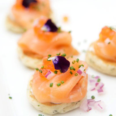 Salmon canap s with horseradish cream easy holiday for Easy canape fillings