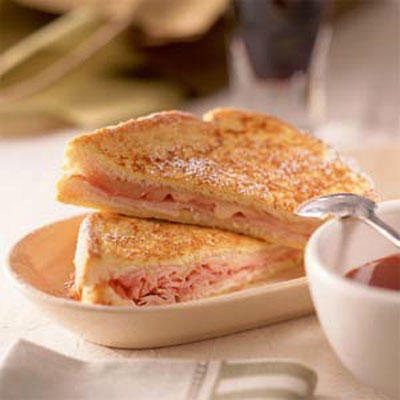 Monte Cristo Sandwich With Sweet Mustard Sauce - Simple Sandwich and ...