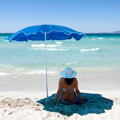 6 Ft. Sun Block Beach Umbrella--Outdoor Living-Patio Furniture