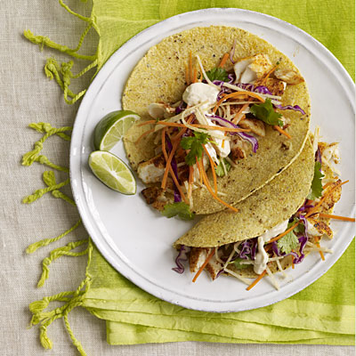 Fish tacos with spicy slaw recipe dishmaps for Healthy fish tacos