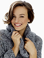 smiling-gray-sweater