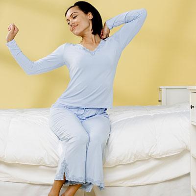 stretching-blue-pajamas