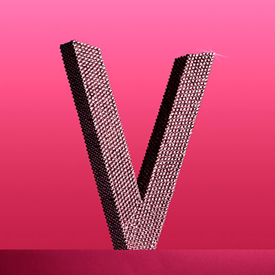 jeweled-letter-v