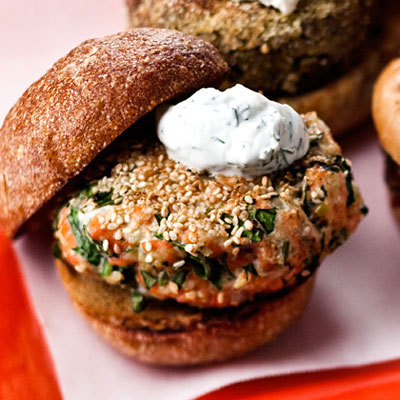 Recipe of the Day: Sesame Seed-Crusted Salmon Burger with Yogurt Sauce ...