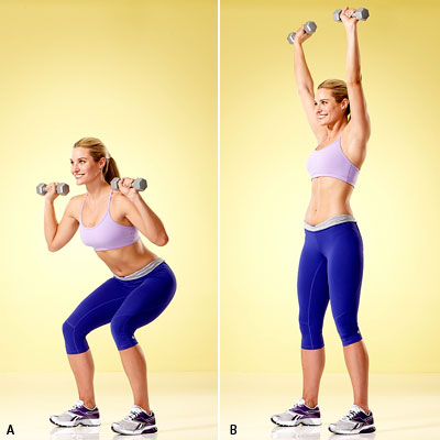 Squat With Dumbbell Overhead Press Squat to Overhead Press