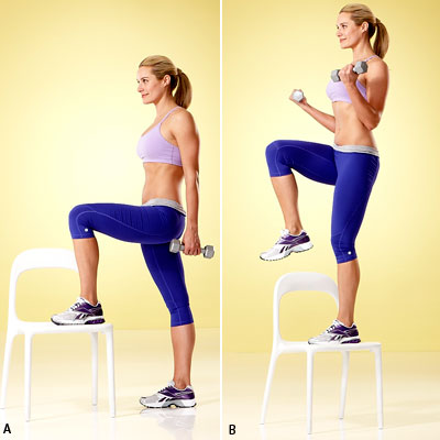 Step-Up With Bicep Curl - The 5 Best Strength Moves for ...