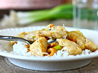 ginger honey cashew chicken 200x150 Healthy Cooking on the Cheap: Ginger Honey Cashew Chicken, Coconut Curried Sweet Potato Soup, and Bacon and Cheese Muffins