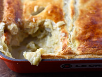pastry chicken pot pie 200x150 Healthy Cooking on the Cheap: Lightened Up Chili Dogs, Chicken Pot Pie, and Shrimp Quesadillas