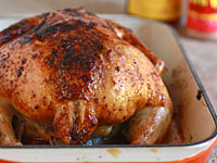 roasted whole chicken 200x150 Healthy Cooking on the Cheap: Honey Barbecue Roast Chicken, Sonoma Chicken Salad, and More