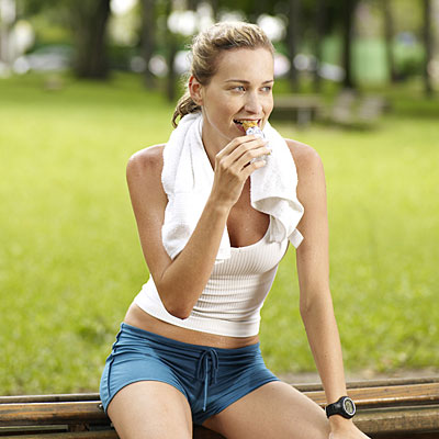 woman eating snack