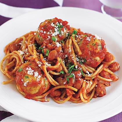 Spaghetti and Turkey Meatballs in Tomato Sauce Recipe - Health.com