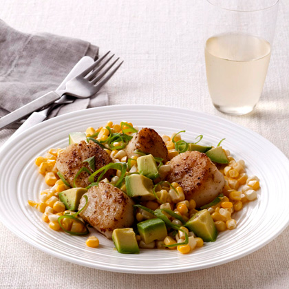 Fresh Corn With Avocado, Scallions, and Spiced Scallops Recipe