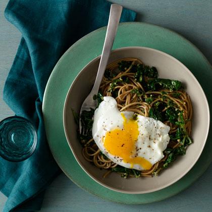 Spaghetti With Wilted Greens and Walnut-Parsley Pesto Recipe