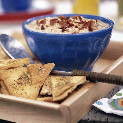 White Bean and Bacon Dip with Rosemary Pita Chips Recipe