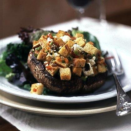 Portobello Mushrooms with Mediterranean Stuffing Recipe