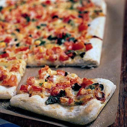 Roasted Garlic, Tomato, and Basil Squares Recipe
