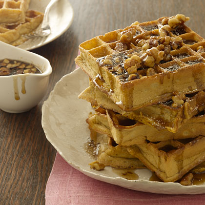Pumpkin Waffles With Maple-Walnut Syrup Recipe - Health.com