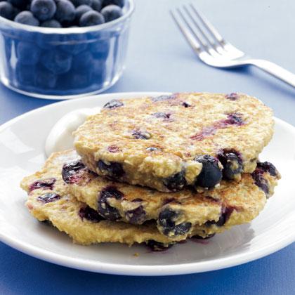 Blueberry Oat Pancakes with Maple Yogurt Recipe - Health.com