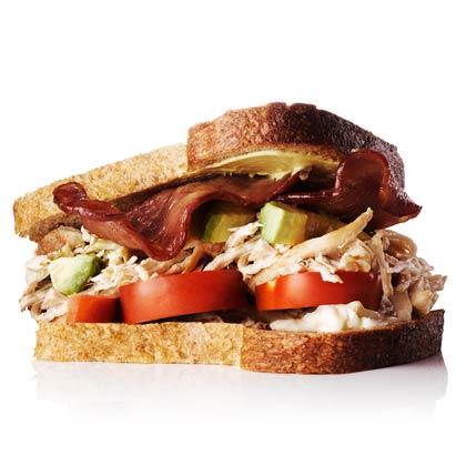 Chicken, Avocado, and Turkey-Bacon Sandwich Recipe