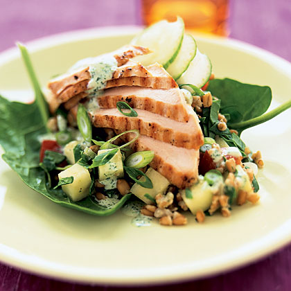 salads Recipes Menus: Grilled Chicken and Wheat-Berry Salad