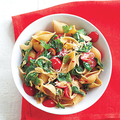 Spinach-Tomato Pasta Shells Recipe