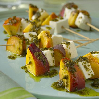 Mozzarella and Nectarine Skewers With Pesto Recipe - Health.com