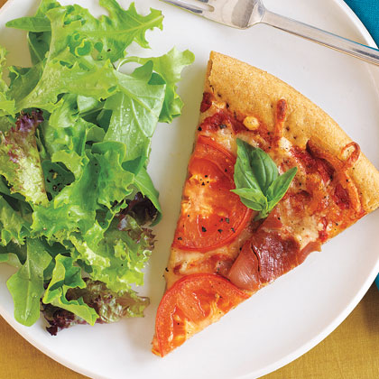 Pizza with Prosciutto, Tomatoes, and Parmesan Cheese Recipe