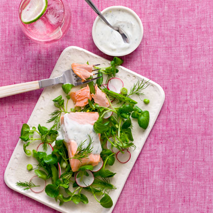 Poached Salmon and Watercress Salad with Dill-Yogurt Dressing Recipe