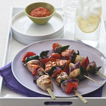 Salmon and Scallop Skewers With Romesco Sauce Recipe - Health.com