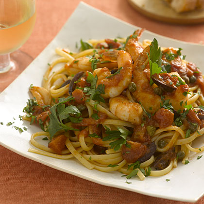 Linguine With Shrimp, Tomatoes, Olives, and Capers Recipe - Health.com