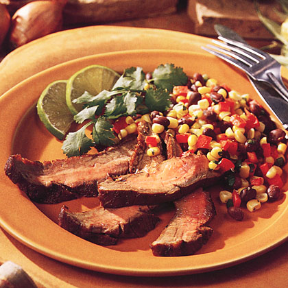 ... flank steak grilled flank steak with black beans corn and tomatoes