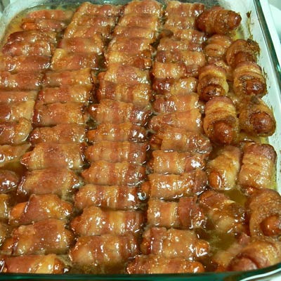 bacon wrapped minis 400x400 Pin of the Week: The Fattiest Food on Pinterest