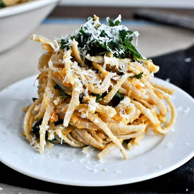 kale sweet potato pasta 400x400 Favorite Pins of the Week: Tasty Kale Recipes