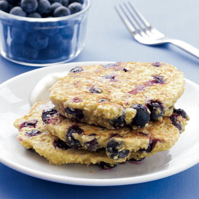 Blueberry Oat Pancakes with Maple Yogurt - Spring Breakfast Recipes on ...
