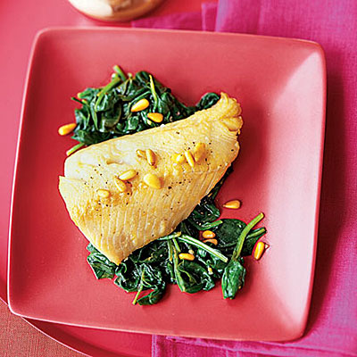 Cod With Pine Nut Brown Butter and Garlicky Spinach - Healthy Fish ...