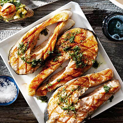 Salmon Steaks With Horseradish Vinaigrette - Healthy Fish Recipes ...
