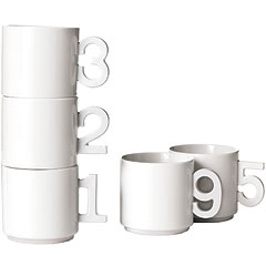 Porcelain mugs with numeral handles, Takuya Hoshiko for +D Collection.