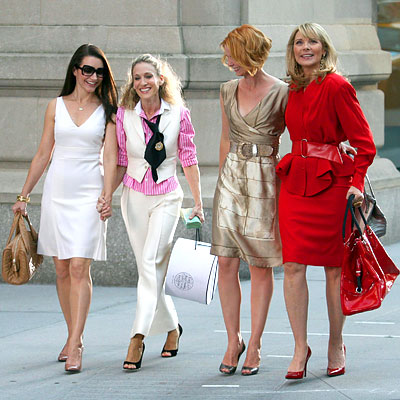 Sarah Jessica Parker, Kristin Davis, Cynthia Nixon, Kim Cattrall, Sex and the City, Prada, Ralph Lauren, Manolo Blahnik, Alberta Ferretti, Luciano Padovan, Valentino, Thierry Mugler, Fendi