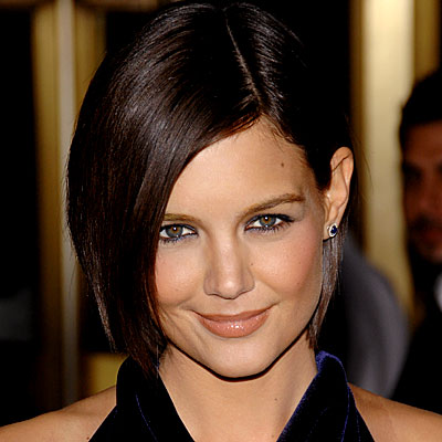 Katie Holmes diagonally parted bob haircuts