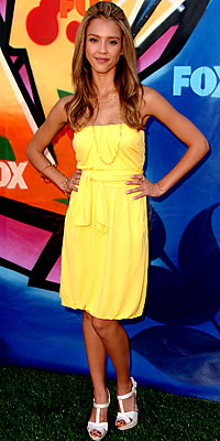 jessica alba yellow dress