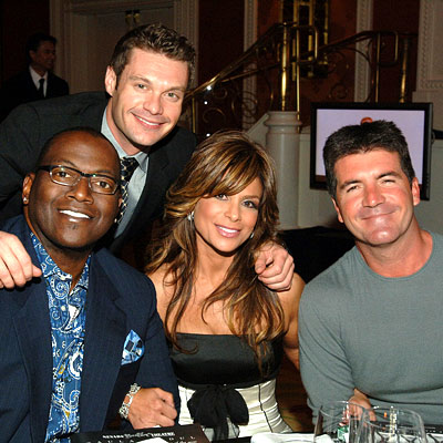 The four gross stereotypical Talent Reality Show hosts (counterclockwise from the top): the I'm not gay host, the token black guy, the crazy girl and the shrew British man