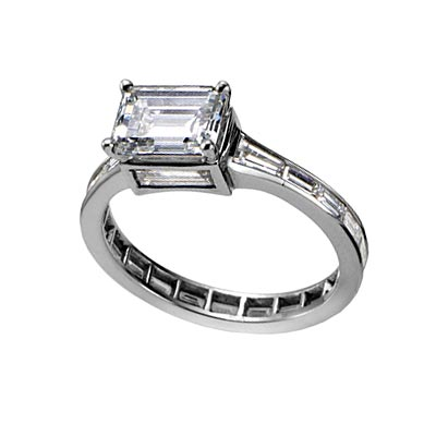 vera wang princess ring. emerald-cut engagement ring