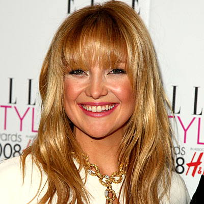 Daily Beauty Flash, Kate Hudson, hair, bangs, makeup, beauty