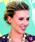 Scarlett Johansson, LOreal Glam Shine in Seductress, Kevyn Aucoin Basic Plum eyeliner, Bohemian Beach Spray, hair, mascara, makeup
