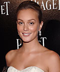 Leighton Meester, Lancome tinted moisturizer, Chanel bronzing powder, Dior 5-Colour Eyeshadow in Beige Massai 705, icy beige M.A.C lipstick, powder, eye shadows