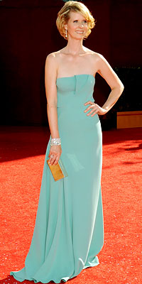 Cynthia Nixon in Calvin Kelin and Fred Leighhton jewels, 2008 Emmy Awards, Fashion