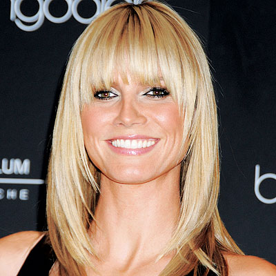 Heidi Klum – a face framing fringe hairstyle