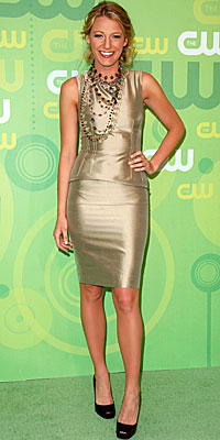 Look of the Day - Celebrities - In Style :  instyle metallic blake lively dress