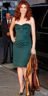 Debra Messing wearing Diane von Furstenberg