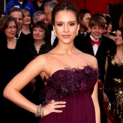 Jessica Alba - Simply Strapless - Oscars 2008 Fashion Trends - Oscars 2008 - Celebrities - In Style :  dress oscars purple feathers